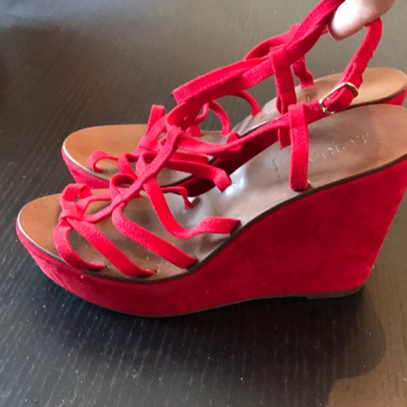 95df5ecb935 J. Crew Shoes - Jcrew red suede wedges